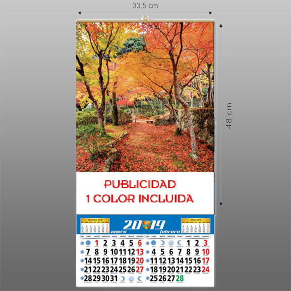Calendario pared varilla y faldilla
