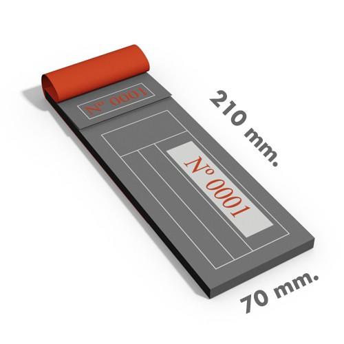 Talonarios 21x7 cm.